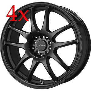 Drag Wheels Dr 31 16x7 5x100 5x114 Flat Black Rims For Beetle Cavalier Sunfire