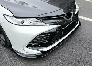 For 2018 2020 Toyota Camry Painted Black Front Body Kit Bumper Spoiler Lip 3pcs