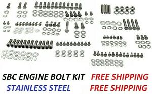 Small Block Chevy Stainless Steel Engine Bolt Kit Hex Nuts Sbc Engine Bolts