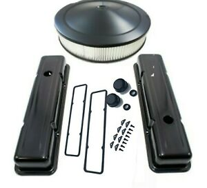 Sbc Valve Covers Air Cleaner Kit Black Covers Stock Height With Accessories
