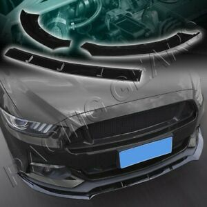 3pcs Painted Black Front Body Kit Bumper Spoiler Lip Fit 15 17 Ford Mustang