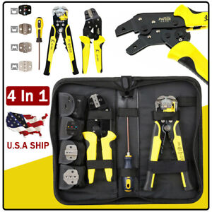 Pro Ratcheting Wire Terminal Crimpers stripper Plier Cord End Terminals Tool Kit
