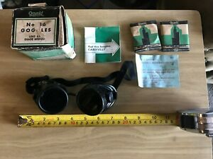 Vintage Nos Oxweld Welding Goggles No 16 Lenses Steampunk Motorcycle Safety
