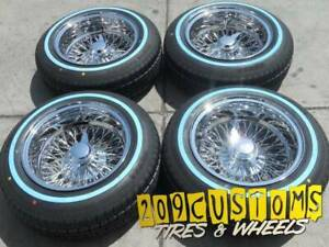 4 Wheels 13 Wire Wheels 72 Spokes 13x7 Reverse Chrome Lowrider Rims With Tires