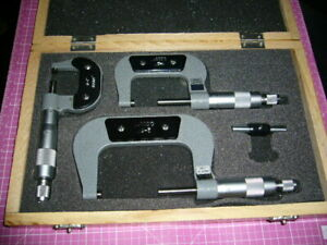 Micrometer Caliper Set 0 To 3 Inch Set Of 4 Pieces Made In China Clean Cond