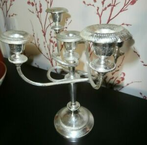 Victorian Style Silver Plate Five Arm Candelabra Ideal For Christmas 29 Cm