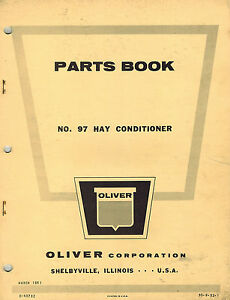 Oliver Vintage 97 Hay Conditioner Parts Manual 1961