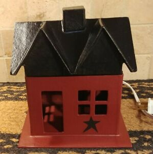 Primitive Barn Red W Black Star Lighted Small House Hand Painted Country Decor