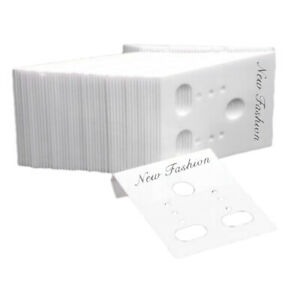 Pack Of 1000 Plastic Earring Ear Stud Display Cards Packing White