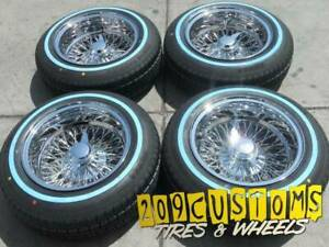 4 Wheels 14 Wire Wheels 72 Spokes 14x7 Reverse Chrome Lowrider Rims With Tires