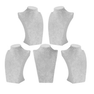 Set Of 5 Gray Velvet Necklace Display Mannequin Jewelry Display Stand Bust