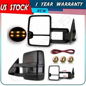 Power Turn Signal Light Side Mirrors For 99 02 Silverado Sierra Tow Pair