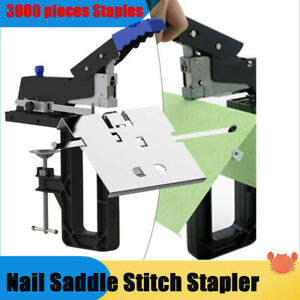 Manual Double Flat Nail Saddle Stitch Stapler Binding Machine Binder Kit Safe
