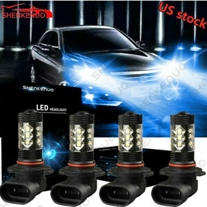 Combo 9005 9006 Led Headlight Low Beam Bulbs Kits Fog Light 8000k Blue
