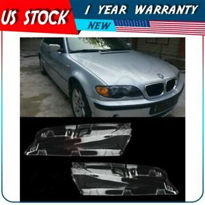 Headlight Clear Lens Covers For 2001 2005 Bmw E46 3 series 4dr 2pcs