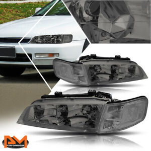For 94 97 Honda Accord Replacement Headlight Lamps Smoked Housing Clear Corner