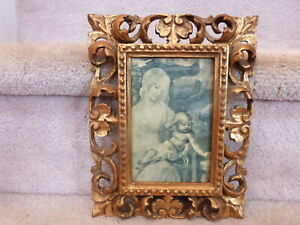 Stunning Antique Carved Wood Gold Gilt Layered Rococo Baroque Picture Frame 9x7