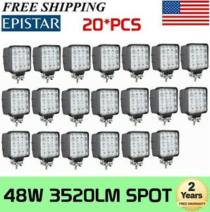 20x 48w 4 in Led Work Light Bumper Off Road Reverse Lamp Car Truck Tractor 4wd
