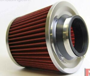 3 Inlet High Flow Short Ram Cold Air Intake Round Cone Air Filter Chrome Red
