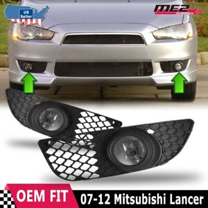 For Mitsubishi Lancer 07 12 Factory Bumper Replacement Fit Fog Light Clear Lens