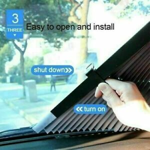 Retractable Car Windshield Visor Sun Shade 45cm 160cm For Front Rear Windows New