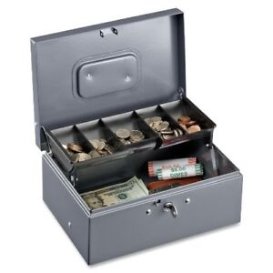 Sparco 5 compartment Tray Cash Box 5 Coin Gray 3 4 Height X 11 4 Width X