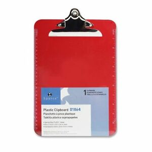 Sparco Transparent Clipboard 9 X 12 50 Spring Clip Plastic Red