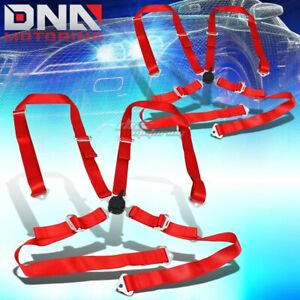 Pair Universal 4 Point 2 Red Nylon Strap Harness Safety Camlock Seat Belt Belts