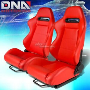 X2 Type R L R Pvc Leather Red Stitches Fully Reclinable Racing Seat Seats Slider