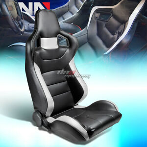 Full Reclinable Black White Stripe Pvc Leather Bucket Racing Seat Slider Right