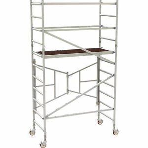 Metaltech 6ft Easyset Aluminum Scaffold Tower W guardrail 800lb Cap al q0105
