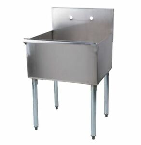 Commercial Utility Sink Deep One Compartment Stainless Steel 24 Inches