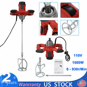 1500w Industrial Electric Mortar Mixer Stirrer 6 Speed Paint Cement Grout 110v