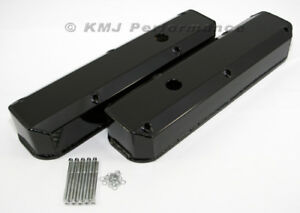 Dodge 318 340 360 Black Powder Coated Long Bolt Fabricated Aluminum Valve Covers