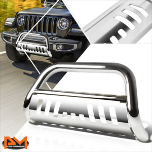 For 18 19 Jeep Wrangler 3 Tubing Bull Bar Front Push Bumper Grille Guard Chrome
