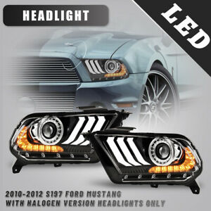 For 10 14 Ford Mustang Headlight Sequential Signal Projector Led Drl Black clear