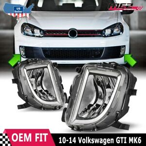 Fits 10 14 Vw Gti Mk6 10 14 Clear Lens Pair Oe Bumper Replacement Fog Lights