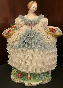Vintage Rare Sitzendorf Dresden Lace Standing Woman Carrying 2 Wicker Flower Bas