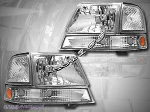 1998 1999 2000 Ford Ranger Headlight Chrome Parking Bumper Lights Clear Set
