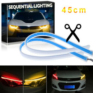 2x 45cm Slim Amber Sequential Flexible Led Drl Turn Signal Strip For Headlight