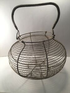 Vintage Primitive French Country Wire Footed Egg Gathering Basket