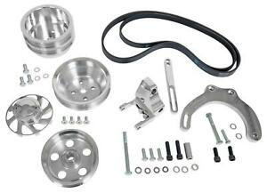 Pulley Set Serpentine Mid mount Aluminum Polished Chevy Small Block Kit