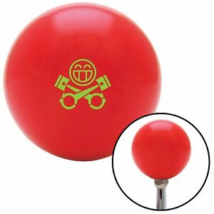 Green Smiley Pistons Red Shift Knob W M16x1 5 Insert Shifter Auto Manual Brody