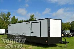 New 2021 8 5x24 V Nose Enclosed Race Ready Toy Hauler Trailer Black Out Package