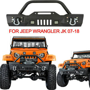 Rock Crawler Front Bumper Winch Plate Cree Led Lights For 07 18 Jeep Wrangler Jk