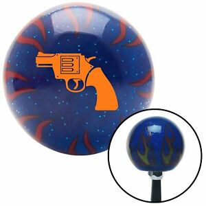 Orange Hand Gun Blue Flame Metal Flake Shift Knob W M16x1 5 Insert Shifter