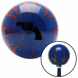 Black Gun Blue Flame Metal Flake Shift Knob W M16x1 5 Insert Shifter Auto Brody