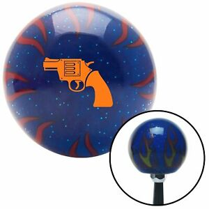 Orange Gun Blue Flame Metal Flake Shift Knob W M16x1 5 Insert Shifter Auto