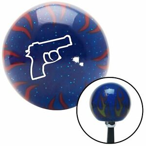 White Gun Outline Blue Flame Metal Flake Shift Knob W M16x1 5 Insert Shifter