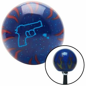 Blue Gun Outline Blue Flame Metal Flake Shift Knob W M16x1 5 Insert Shifter
